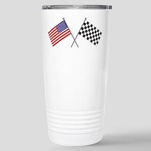 American-Checker Flag Stainless Steel Travel Mug