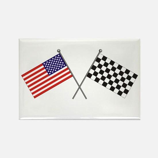American-Checker Flag Rectangle Magnet