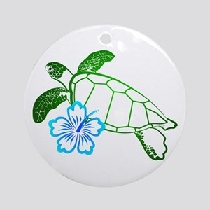 Sea Turtle Hibiscus Blue Ornament (Round)
