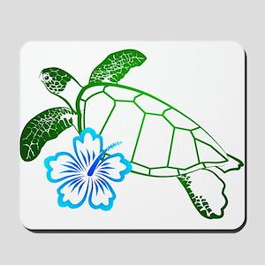 Sea Turtle Hibiscus Blue Mousepad