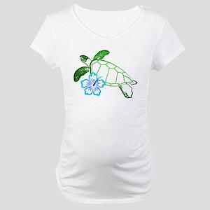 Sea Turtle Hibiscus Blue Maternity T-Shirt