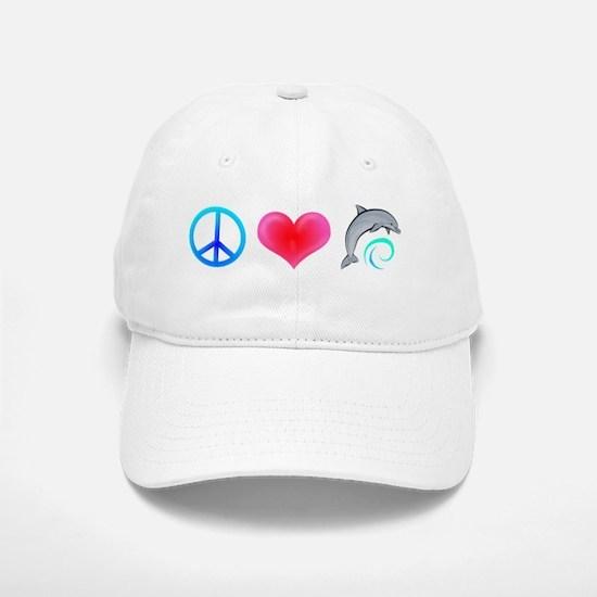 Peace Love Bottlenose Dolphin Baseball Baseball Cap