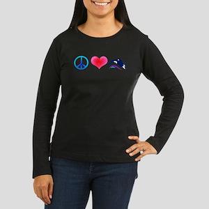 Peace Love Orca Women's Long Sleeve Dark T-Shirt