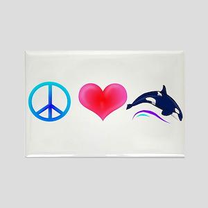 Peace Love Orca Rectangle Magnet