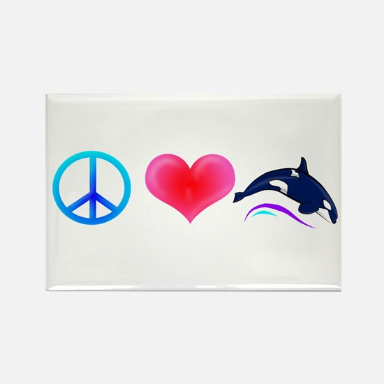 Peace Love Orca Rectangle Magnet