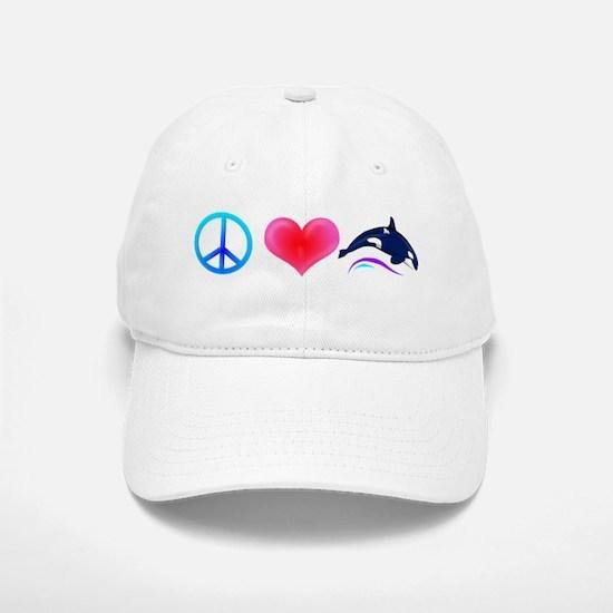 Peace Love Orca Baseball Baseball Cap