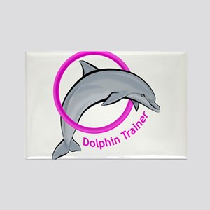 Dolphin Trainer Pink Rectangle Magnet