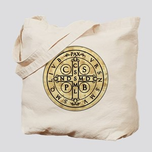 St Benedict Medal: Latin + Translation Tote Bag