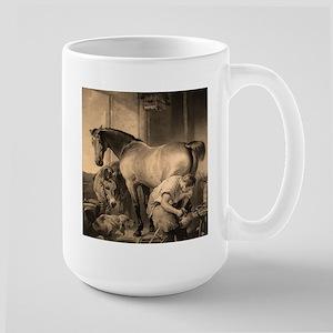Farrier Shoeing A Horse Large Mug
