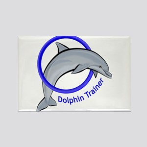 Dolphin Trainer Blue Rectangle Magnet