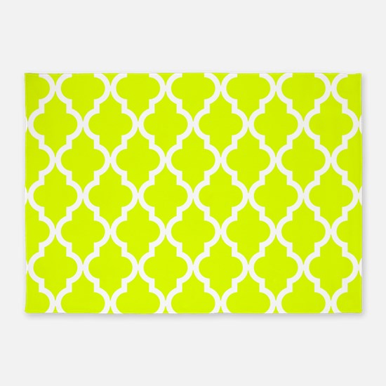 Chartreuse Moroccan Pattern 5'x7'Area Rug