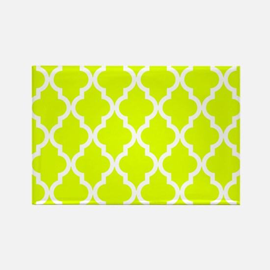 Chartreuse Moroccan Pattern Rectangle Magnet