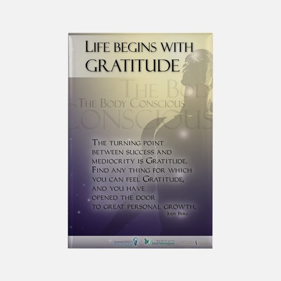 Life Begins with Gratitude Rectangle Magnet