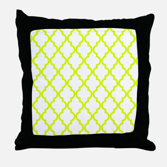 Chartreuse Moroccan Pattern (Reverse) Throw Pillow