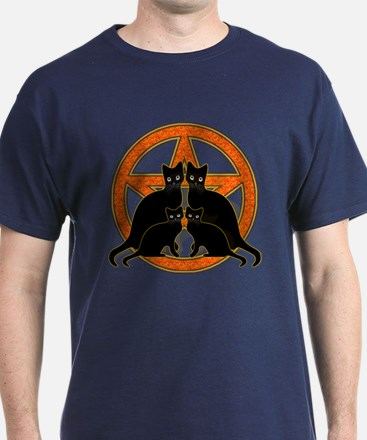 Orange Pentagram Black Cats T-Shirt