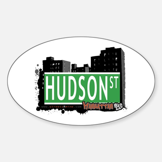 HUDSON STREET, MANHATTAN, NYC Oval Decal