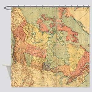 Vintage Map Of Canada 1898 Shower Curtain