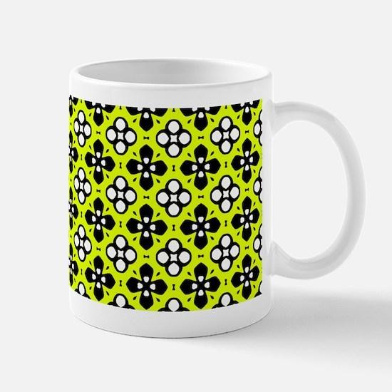 Chartreuse Ornate Flowers Pattern Mug