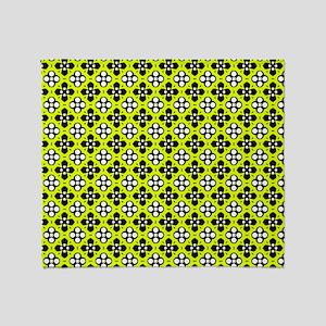 Chartreuse Ornate Flowers Pattern Throw Blanket