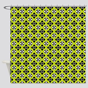 Chartreuse Ornate Flowers Pattern Shower Curtain