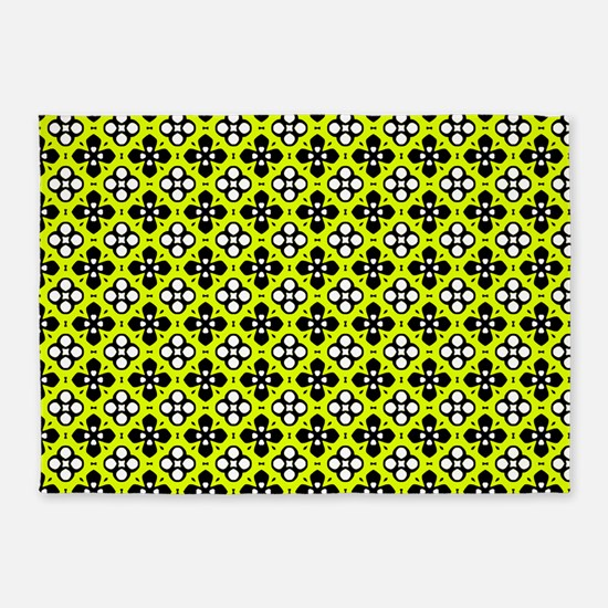 Chartreuse Ornate Flowers Pattern 5'x7'Area Rug