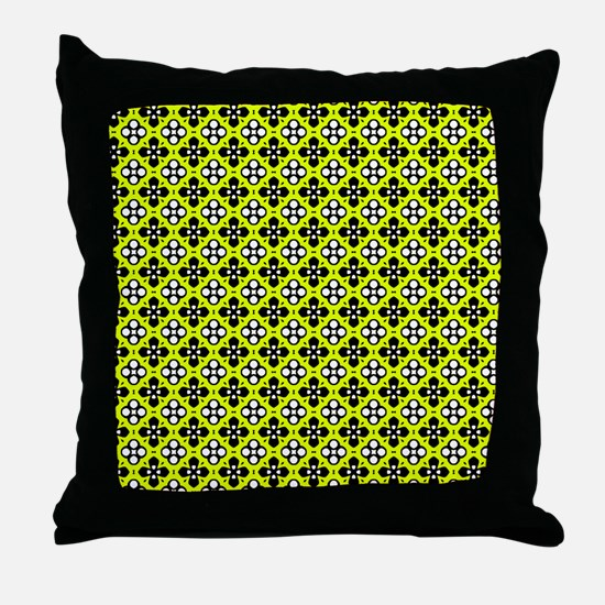 Chartreuse Ornate Flowers Pattern Throw Pillow