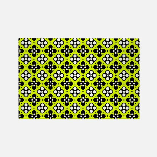 Chartreuse Ornate Flowers Pattern Rectangle Magnet