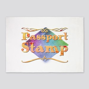 Passport Stamp 5'x7'Area Rug