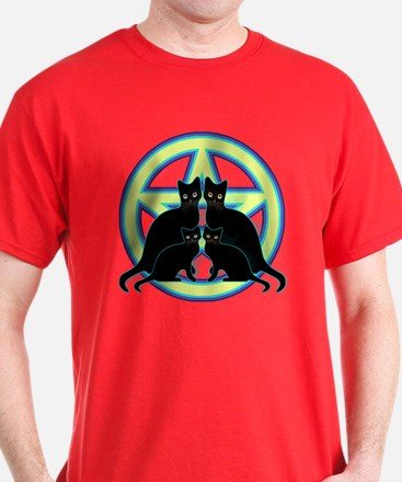 Glowing Moon Pentagram Cats T-Shirt