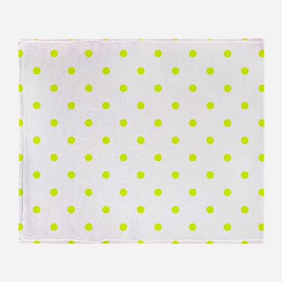 Chartreuse Small Polka Dots (Reverse Throw Blanket
