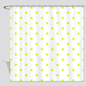 Chartreuse Small Polka Dots Revers Shower Curtain