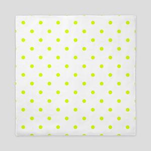 Chartreuse Small Polka Dots (Reverse) Queen Duvet