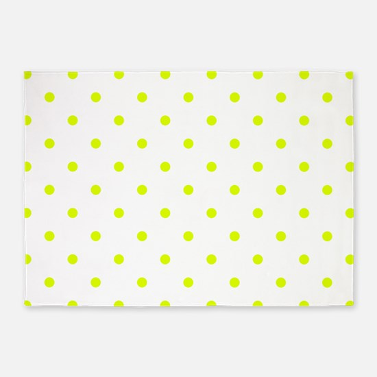 Chartreuse Small Polka Dots (Revers 5'x7'Area Rug
