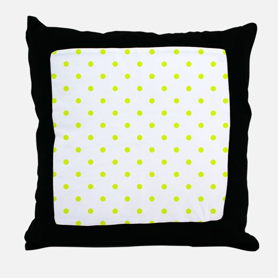 Chartreuse Small Polka Dots (Reverse) Throw Pillow
