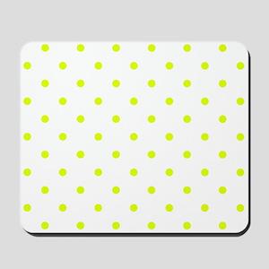 Chartreuse Small Polka Dots (Reverse) Mousepad