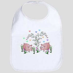 Pigs In Garden Baby Bib