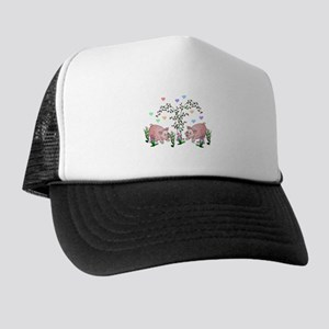 Pigs In Garden Trucker Hat