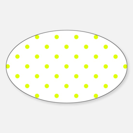 Chartreuse Small Polka Dots (Revers Sticker (Oval)