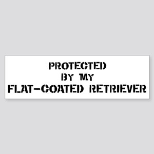 Protected by Flat-Coated Retr Bumper Sticker