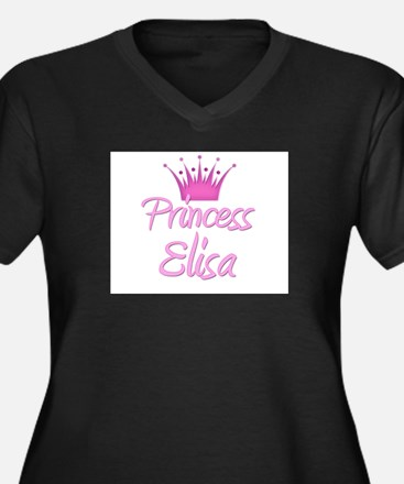 Princess Elisa Women's Plus Size V-Neck Dark T-Shi