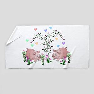 Pigs In Garden Beach Towel