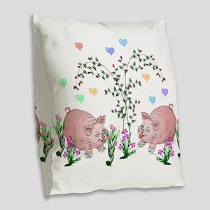 Pigs In Garden Burlap Throw Pillow