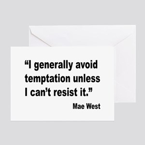 Sexy sayings erotic quotes greeting cards cafepress mae west temptation quote greeting card m4hsunfo
