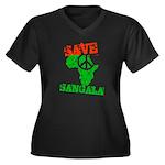 Save Sangala Women's Plus Size V-Neck Dark T-Shirt