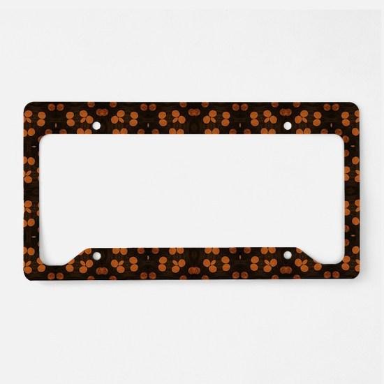 Brown Polka Dot Stripes License Plate Holder