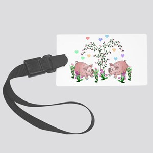 Pigs In Garden Luggage Tag