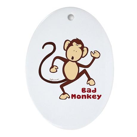 Bad Monkey Oval Ornament