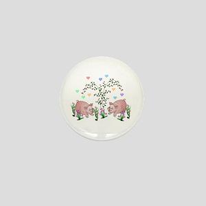 Pigs In Garden Mini Button