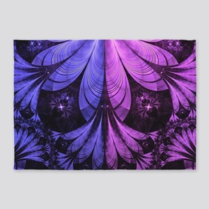 Beautiful Lilac Fractal Feathers of 5'x7'Area Rug