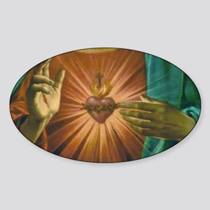 Sacred Heart 2 Oval Sticker